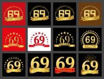 Reeks van nummer negenenzestig 69 van het vieringsjaar ontwerp Het malplaatjeelementen van het verjaardags gouden aantal voor uw  royalty-vrije illustratie