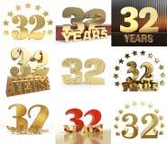 Reeks van nummer tweeëndertig jaar het ontwerp van de 32 jaarviering Het malplaatjeelementen van het verjaardags gouden aantal vo vector illustratie