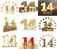 Reeks van nummer veertien jaar het ontwerp van de 14 jaarviering Het malplaatjeelementen van het verjaardags gouden aantal voor u stock illustratie