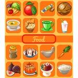 Reeks van nuttige organische natuurvoeding Attributen van gezond het eten geschiktheidsmenu Schets voor vakantiesticker, banner,  stock illustratie