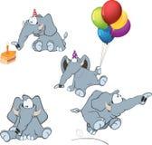 Reeks van olifantenbeeldverhaal Royalty-vrije Stock Foto