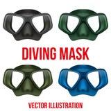 Reeks van Onderwater het duiken scuba-uitrustingsmasker Vector Royalty-vrije Stock Fotografie