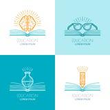 Reeks van onderwijsembleem, pictogrammen, de elementen van het emblemenontwerp Royalty-vrije Stock Foto