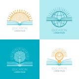 Reeks van onderwijsembleem, pictogrammen, de elementen van het emblemenontwerp O Stock Foto