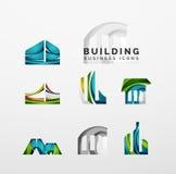Reeks van onroerende goederen of de bouwembleem bedrijfspictogrammen Royalty-vrije Stock Afbeelding