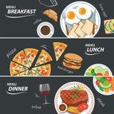 Reeks van ontbijtlunch en de banner van het dinerweb Stock Foto's