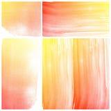 Reeks van oranje Abstracte de kunstverf van de waterkleur Stock Afbeeldingen