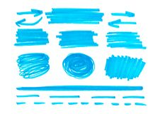Reeks van oranje abstracte met de hand geschilderde teller stock illustratie
