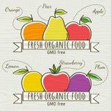 Reeks van organisch groente en fruit, vector Stock Afbeeldingen