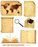 Reeks van oude document bladen en oude kaart. stock illustratie