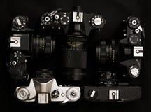 Reeks van 5 oude retro camera's Royalty-vrije Stock Afbeelding