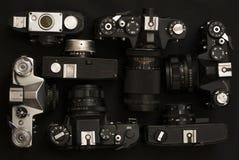 Reeks van 7 oude retro camera's Royalty-vrije Stock Afbeelding