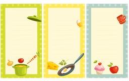 Reeks van ouderwetse receptenkaart Stock Foto