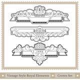reeks van overladen hoofddeksels koninklijke stijl - grote hoofdstukverdelers Royalty-vrije Stock Afbeelding