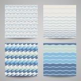 Reeks van overzeese golf Patronen in blauwe kleuren Royalty-vrije Stock Foto