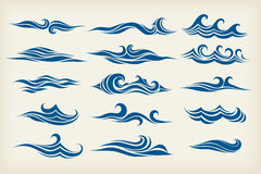 Reeks van overzeese golven stock illustratie