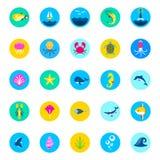 Reeks van 25 overzeese pictogrammen mariene vissen en de pictogrammen overzeese van de aard vlakke stijl pictogrammen, mariene pi vector illustratie
