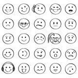 Reeks van Overzicht Smiley Faces Icons Stock Foto