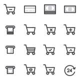 Reeks van Overzichtsslag het Winkelen pictogrammen Vectorillustratie Stock Fotografie