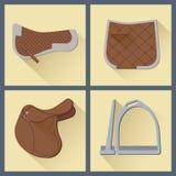 Reeks van paardtoestel in vlakke stijl 2 Royalty-vrije Stock Afbeeldingen