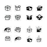 Reeks van pakketdoos, open geplaatste doospictogrammen Stock Afbeelding