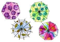 Reeks van paraplu vier Geïsoleerde watercolor Royalty-vrije Stock Foto's