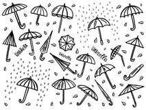 Reeks van paraplukrabbel stock afbeelding