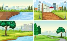 Reeks van parklandschap royalty-vrije illustratie