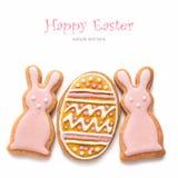 Reeks van Pasen-koekjes Stock Afbeeldingen