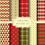 Reeks van patronen en achtergrond voor Kerstmis Stock Fotografie