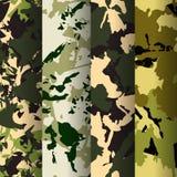 Reeks van 4 patronen van de maniercamouflage Vector illustratie Kan voor textiel of drukontwerp worden gebruikt bos, vector illustratie