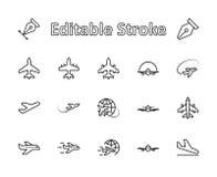 Reeks van pictogram van de vliegtuig het vectorlijn Het bevat symbolen aan vliegtuigen, bol en meer Editablebeweging 32x32 pixel vector illustratie