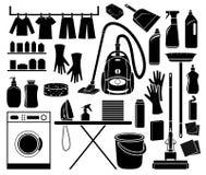 Reeks van pictogram het schoonmaken Royalty-vrije Stock Foto's