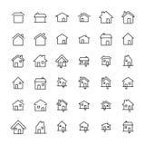 Reeks van 36 pictogrammen van de huis dunne lijn Royalty-vrije Stock Foto's