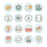 Reeks van 16 pictogrammen van de overzichtsbioskoop Royalty-vrije Stock Afbeeldingen