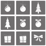 Reeks van pictogrammen gelukkige nieuwe jaar en Kerstmis Royalty-vrije Stock Afbeelding