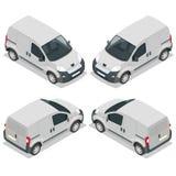 Reeks van pictogrammen kleine vrachtwagen voor vervoerslading Bestelwagen voor het vervoer van lading Leveringsauto Vector 3d iso Royalty-vrije Stock Afbeelding