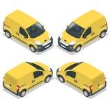 Reeks van pictogrammen kleine vrachtwagen voor vervoerslading Bestelwagen voor het vervoer van lading Leveringsauto Vector vlakke Stock Afbeelding