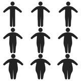 Reeks van pictogrammen menselijke dik, dun, vet, lichaamsgrootte, graad van zwaarlijvigheid, vector van de aandelen van het licha stock illustratie