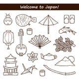 Reeks van pictogrammen ter beschikking getrokken overzichtsstijl op Japan Royalty-vrije Stock Foto