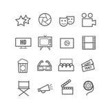 Reeks van 16 pictogrammen van de overzichtsbioskoop Dunne pictogrammen voor Web en mobiele apps Royalty-vrije Stock Fotografie