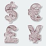 Reeks van pictogrammenmunt met abstract patroon in stammen Indische stijl Royalty-vrije Illustratie