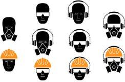 Reeks van pictogrammenpersoonlijk beschermingsmiddel op hoofd stock illustratie