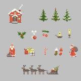 Reeks van pixelkunst voor Kerstmis Stock Afbeeldingen