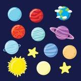 Reeks van planeten, sterren, zon en maan vector illustratie