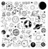 Reeks van planetenpictogram, hand getrokken vectorillustratie Stock Foto's