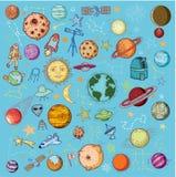 Reeks van planetenpictogram, hand getrokken vectorillustratie Royalty-vrije Stock Afbeelding