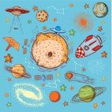 Reeks van planetenpictogram, hand getrokken vectorillustratie Stock Fotografie