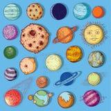 Reeks van planetenpictogram, hand getrokken vectorillustratie Royalty-vrije Stock Afbeeldingen