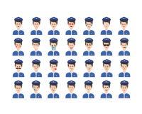 Reeks van politieagent emoticon vector op witte achtergrond wordt geïsoleerd die vector illustratie